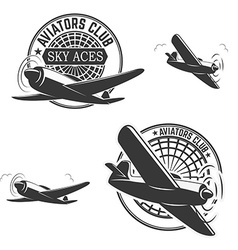 Set of aviators club labels vector image vector image