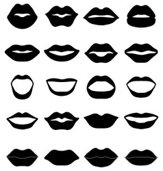 Set of black lips vector image vector image