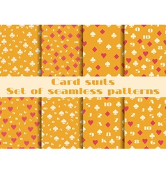 Set of seamless patterns with playing cards suits vector