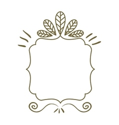 Silhouette heraldic decorative frame with leaves vector