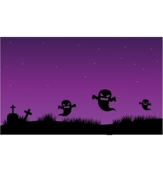 Silhouette of ghost and tomb halloween vector image