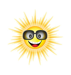 sun face with sunglasses vector image