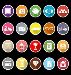 The useful collection icons with long shadow vector