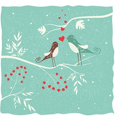 Two birds in winter vector image vector image