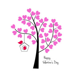 valentines day birds with tree and birdhouse vector image vector image