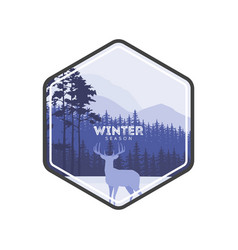 Winter forest deer label pine landscape mountains vector