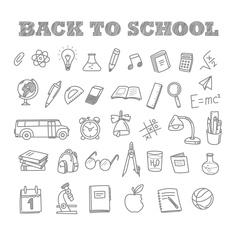 Back to school doodles Education elements clip-art vector image