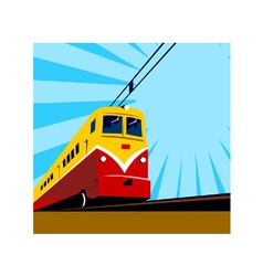 Electric passenger train retro vector