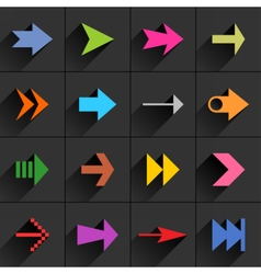Color arrow icon flat sign with long shadow vector image