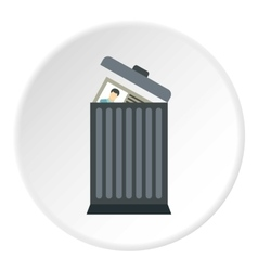 Summary in trash icon flat style vector