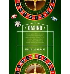 Casino classic roulette game advertisement poster vector