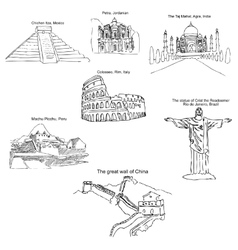 The modern seven wonders of the world sketch vector