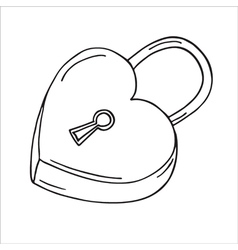 Heart-shaped lock vector