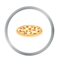 Pizza icon in cartoon style for web vector