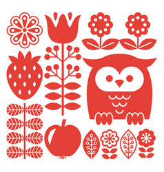 finnish inspired folk art red pattern - scandinavi vector image