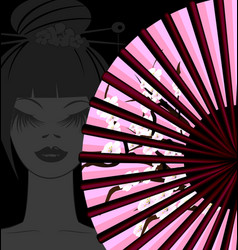 dark fan and face vector image
