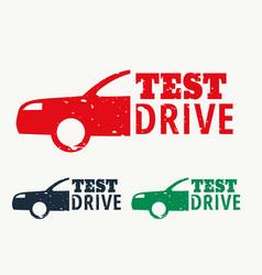 Test drive sign stamp design vector