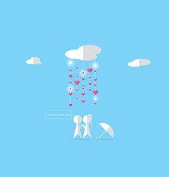 Couple under clouds with rain and heartsvalentine vector