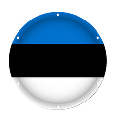 Round metallic flag of estonia with screw holes vector