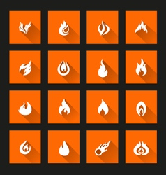 Flame icons long shadow vector