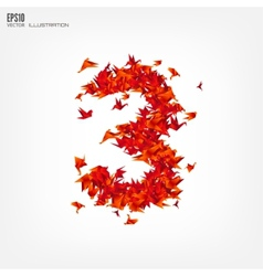 Number 3 Numbers with origami paper bird on vector image