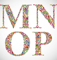 Ornate alphabet letters m n o p vector