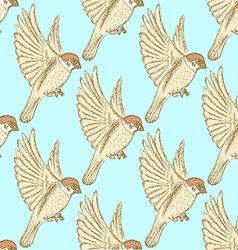 Sketch cute sparrow vector