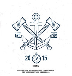 Anchor with crossed axes design elements t-shirt vector