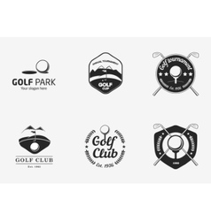 Set of vintage black and white golf championship vector