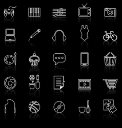 Hobby line icons with reflect on black vector image