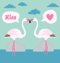 Pair of flamingo bird cartoon card vector