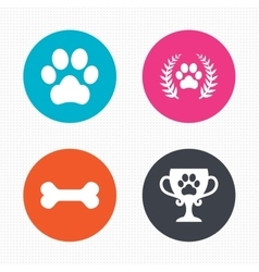 Pets icons dog paw sign winner laurel wreath vector