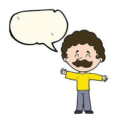 Cartoon boy with mustache with speech bubble vector
