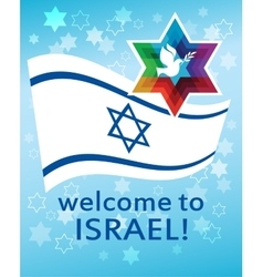 Welcome to israel flag david star and peace vector