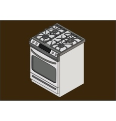 Gas stove isometric flat vector