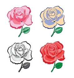 Set of color artistic hand drawing roses vector