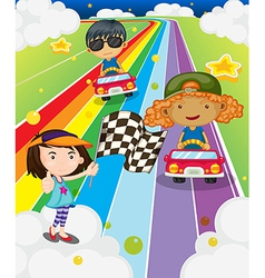A car race at the colorful road vector image