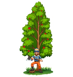 A lumberjack under the tall tree vector