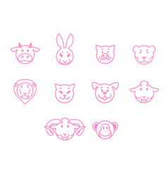 animals set pink outline simple style vector image vector image