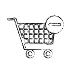 Blurred silhouette shopping cart and minus sign vector