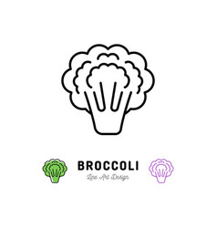 broccoli icon vegetables logo thin line art vector image vector image