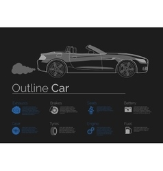 Car infographics on dark background vector image