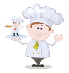 Cartoon cook and little chef with pizza vector image