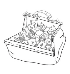 Cartoon image of huge bag of money vector