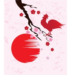 Cherry blossom rooster vector