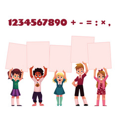 Children kids holding empty boards for mathematic vector