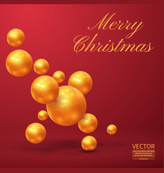 christmas made of cutout gold foil on red vector image vector image