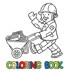 Coloring book of funny worker with cart vector