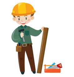 Construction worker with safety hat vector
