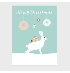 Cute Christmas greeting card invitation with vector image